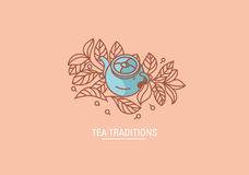 Творческие традиции чая значка Чайник и grenn или чернота чая листья Стоковое фото RF
