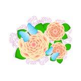 Творческие цветки с бабочками и ветви на белизне Стоковые Фотографии RF
