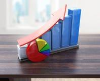 Творческий абстрактный успех в бизнесе, финансовый рост и концепция развития: покрасьте растущие диаграммы в виде вертикальных по Стоковые Фото