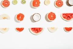 Творческий ананас плана, арбуз, кокос, дыня, grapefrui Стоковые Фотографии RF