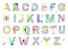 Творческий геометрический алфавит Дизайн Postmodernist Стоковое фото RF