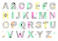 Творческий геометрический алфавит Дизайн Postmodernist Стоковые Фото
