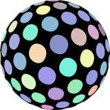 Творческий график сферы 3d Светлый - голубой зеленый желтый макрос точек Картина шарика мозаики иллюстрация вектора