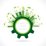 Творческий зеленый дизайн города в концепции шестерни Стоковые Фото