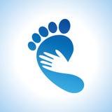 Творческий значок заботы ноги с ладонью Стоковая Фотография RF