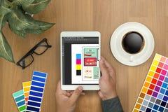 Творческий дизайнерский график на работе Образцы образца цвета, Illustr Стоковые Фото