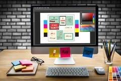 Творческий дизайнерский график на работе Образцы образца цвета, Illustr Стоковое Изображение