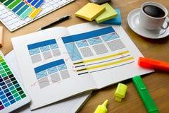 Творческий дизайнерский график на работе Образцы образца цвета, Illustr Стоковое Фото