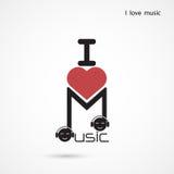 Творческий дизайн логотипа вектора конспекта примечания музыки Музыкальное creativ Стоковые Фотографии RF