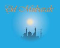 Творческий дизайн поздравительной открытки на святой месяц мусульманского фестиваля общины Eid Mubarak с фонариком луны и смертно Стоковые Фото