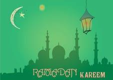 Творческий дизайн поздравительной открытки на святой месяц мусульманского фестиваля общины Рамазана Kareem с фонариком луны и сме Стоковые Изображения