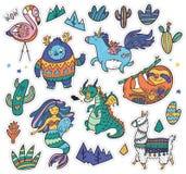 Творческий комплект с йети, единорогом, драконом, русалкой, ламой и ленью в стиле шаржа также вектор иллюстрации притяжки corel бесплатная иллюстрация