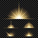 Творческий комплект вектора концепции звезд светового эффекта зарева разрывает при sparkles изолированные на черной предпосылке Стоковые Изображения RF