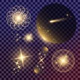 Творческий комплект вектора концепции звезд светового эффекта зарева разрывает при изолированные sparkles Стоковые Изображения