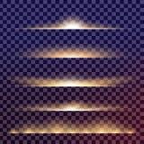 Творческий комплект вектора концепции звезд светового эффекта зарева разрывает при изолированные sparkles Стоковые Изображения RF