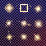 Творческий комплект вектора концепции звезд светового эффекта зарева разрывает с sparkles Стоковые Изображения