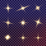 Творческий комплект вектора концепции звезд светового эффекта зарева разрывает с sparkles Стоковое Фото