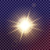 Творческий комплект вектора концепции звезд светового эффекта зарева разрывает при sparkles изолированные на черной предпосылке Стоковое Изображение