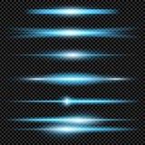 Творческий комплект вектора концепции звезд светового эффекта зарева разрывает при sparkles изолированные на черной предпосылке д Стоковое фото RF