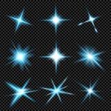 Творческий комплект вектора концепции звезд светового эффекта зарева разрывает при sparkles изолированные на черной предпосылке д Стоковые Фото