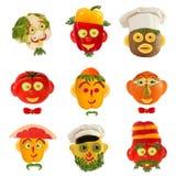 Творческий комплект концепции еды Немного смешных портретов от vegeta Стоковая Фотография