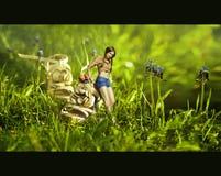 Творческий коллаж изображения с девушкой около ботинка Стоковое Изображение RF