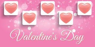Творческий красный день валентинки знамени сердца Стоковые Изображения RF