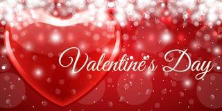 Творческий красный день валентинки знамени сердца Стоковое Фото