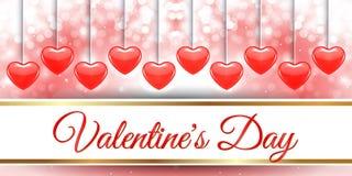 Творческий красный день валентинки знамени сердца Стоковое Изображение
