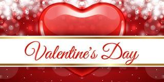 Творческий красный день валентинки знамени сердца Стоковые Изображения