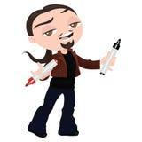 Творческий молодой человек с отметками в руке для того чтобы объяснить что-то иллюстрация штока
