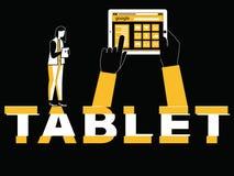 Творческий планшет и женщина концепции слова делая вещи бесплатная иллюстрация