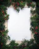 Творческий план сделанный от ветвей рождественской елки с красными ягодами и примечанием бумажной карточки рамки Скопируйте космо стоковая фотография