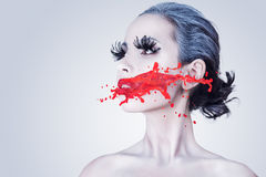 Творческий портрет женщины моды Стоковое Изображение