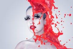 Творческий портрет женщины моды Стоковые Изображения RF