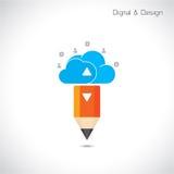 Творческий символ карандаша и облака Плоские стиль дизайна и цифровой Стоковая Фотография