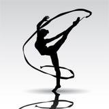 Творческий силуэт гимнастической девушки Стоковое Изображение RF