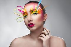 Творческий состав с красочной бумагой Стоковая Фотография RF