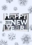 Творческий счастливый дизайн Нового Года 2019 Счастливые искусство Нового Года 2019 бумажные и стиль ремесла Формат A-4 также век иллюстрация штока