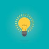 Творческий текст идеи в форме лампочки Концепция воодушевленности, плоская иллюстрация стиля Стоковые Фото