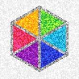 Творческий уникально шестиугольник символа красочных треугольников бесплатная иллюстрация