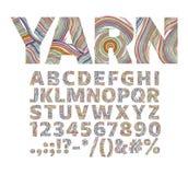 Творческий шрифт в форме потоков пряжи Для декоративных ярлыков стоковое изображение