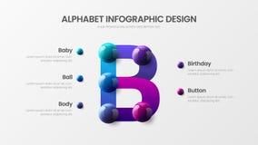 Творческий яркий multicolor план иллюстрации дизайна характера Шаблон визуализирования графиков символа b современного искусства иллюстрация вектора