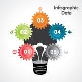 Творческое знамя вариантов Информаци-графиков шестерней Стоковое Изображение RF