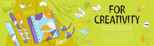 Творческое знамя для ваших блога, статей или рекламы бесплатная иллюстрация