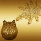 Творческое изображение собаки на предпосылке золота, ветви Chri Стоковые Изображения