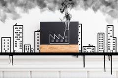 Творческое изображение стены при фабрика испуская дым Куря концепция фабрики Плоский стиль стоковое фото