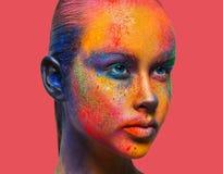 Творческое искусство составляет, портрет крупного плана фотомодели стоковые фото