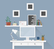 Творческое место для работы офиса с оборудованием, элементами, объектами Стоковое Изображение