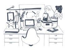 Творческое современное рабочее место с компьтер-книжкой, рукой нарисованная иллюстрация вектора, стиль эскиза Стоковое Изображение RF